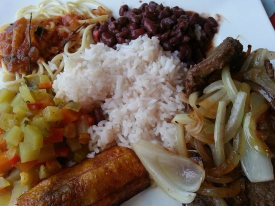 """Samdix Place Caribean Food: We got the """"tico"""" (typical) plate which offered a little bit of everything"""