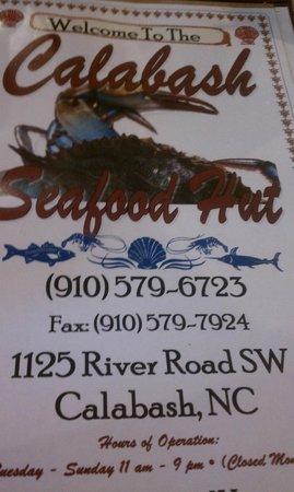 Seafood Hut : Menu