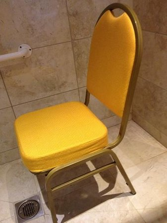 Castle Bromwich Hall Hotel: the makeshift seat i got for the accessible shower