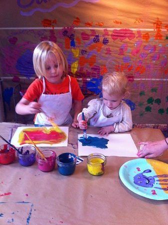 Little Sister's Creative Youth Studio: Cora and Harrison painting