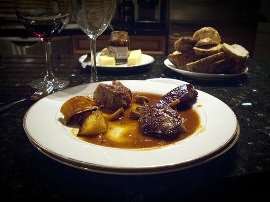 Season Tours: My friend's special plate (since I don't eat meat): Mountain lamb filet and tenderloin of horse.