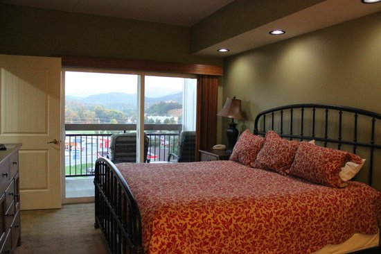 Cherokee Lodge Condos: #401 bedroom 1 door to private balcony overlooking the pool