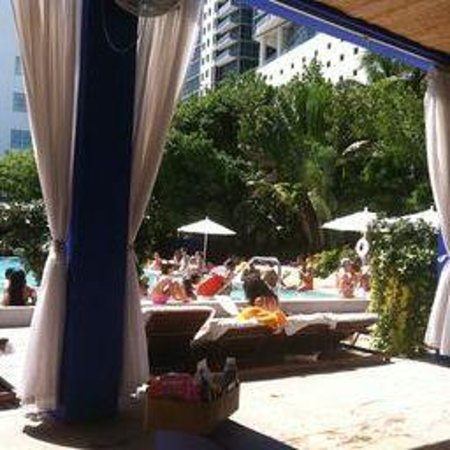 Shore Club South Beach Hotel: Pool view from shaded cabana beds