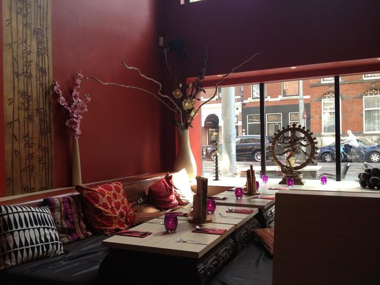 Lulu has lounge seating and regular tables, as well as outdoor tables on the street.