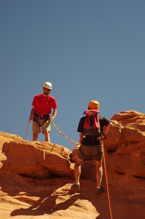 Excursions of Escalante: entering the canyon under Jim's watchful eye