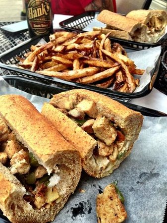 Govinda's: Vegan: Chicken Cheesesteak with Soy Cheese, Grilled Peppers & Onions with a side of French Fries