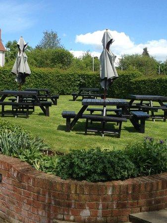 The Axe and Compasses: garden area