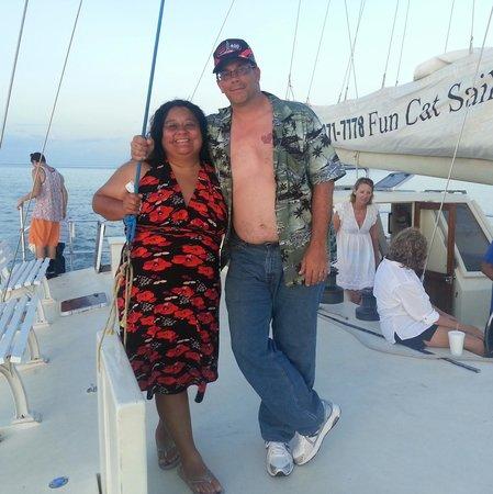Fun Cat Sailing Catamaran: Ron and Lori on amazing sunset cruise.