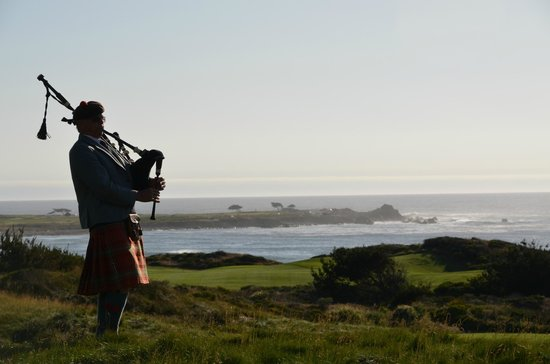 The Inn at Spanish Bay: bagpiper, view from firepits