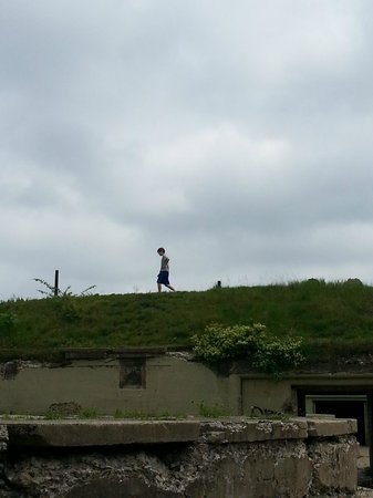 Fort Revere Park: walking along the top of the building