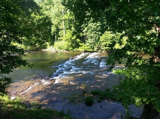 Mountain View Cabins: View from Riverfront Rentals End Unit
