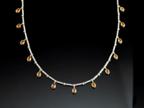 Linde Collection: Unique Mandarin Garnet neckpiece setvin yellow gold settings and whitecgold pavé diamonds