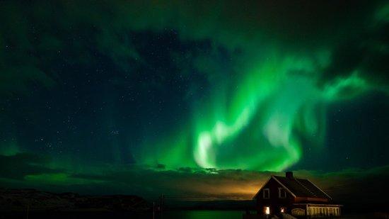 Kongsfjord Gjestehus: Nordlicht direkt vom Gjestehus aus gesehen