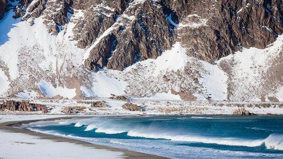Kongsfjord Gjestehus: Küste bei Kongsfjord im Winter