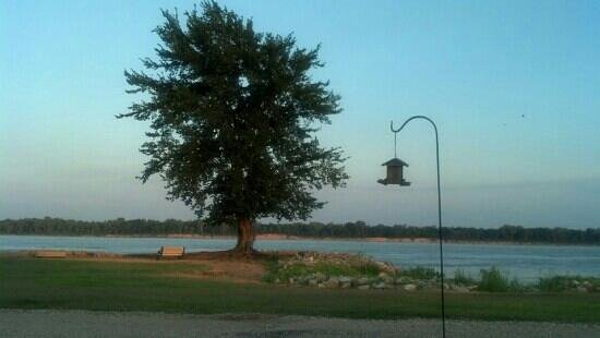 Tom Sawyer's RV Park: i am sitting beside my rig watching the river roll by.  Sadly no birds have found my feeder, but