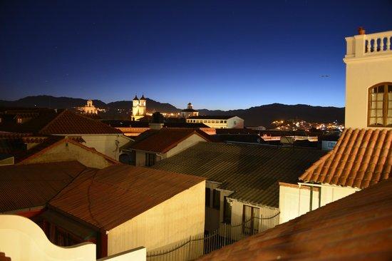 Parador Santa Maria la Real: Vista del atardecer de la terraza del hotel
