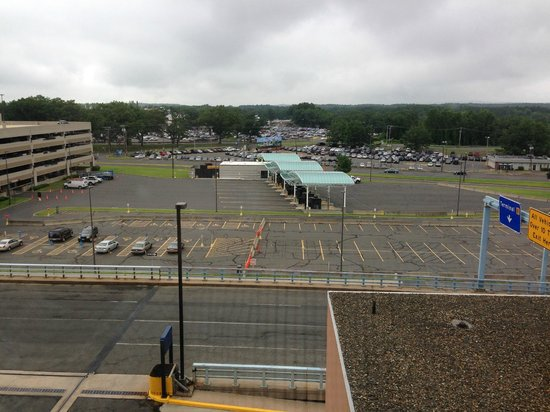Sheraton Hartford Hotel at Bradley Airport: View from room showing the parking garage and fee booths.