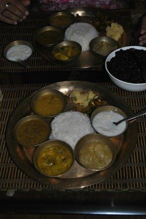 Maihang: Vegetarian Thalli with Black Rice.
