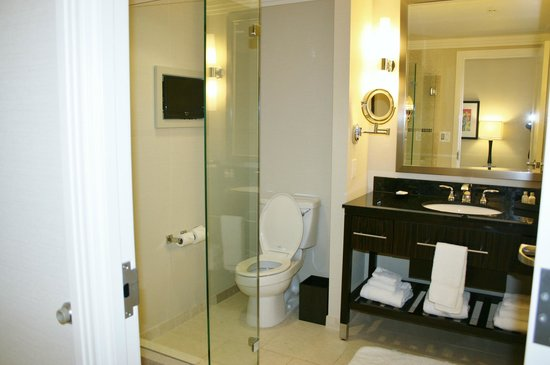 Large Bathroom with small TV in the wall.