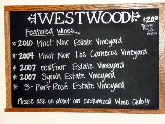 Westwood Winery: Westwood Menu July 2013
