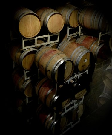 Nk'Mip Cellars: Oak barrels in the winery.