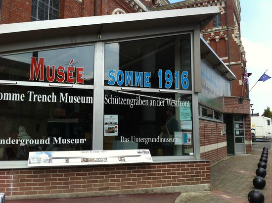 Musee Somme 1916: Outside the museum, located next to the massive chuch looking building