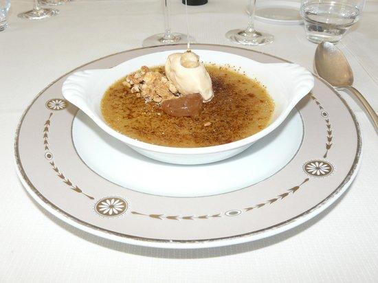 le chateau du clos de la ribaudiere : Menu de la Broue - Dessert : Crème brûlée chataigne avec glace vanille