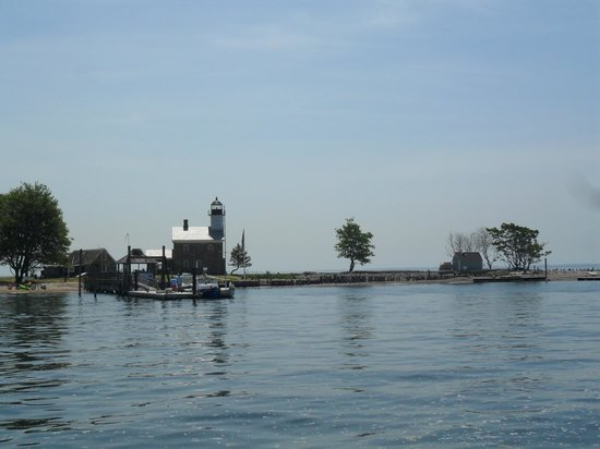 Sheffield Island Lighthouse: As we pulled up to the dock to Sheffield Island
