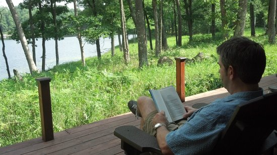 Canoe Bay: Reading and relaxing on the very private deck.