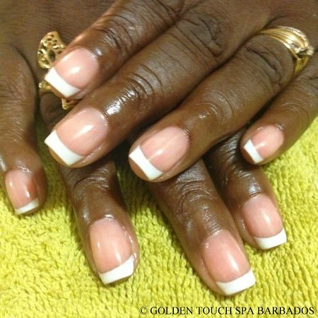 Golden Touch Spa Barbados : Gel Nails: White French Tips Design
