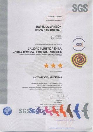 Hotel La Mansion: Certificado categorización