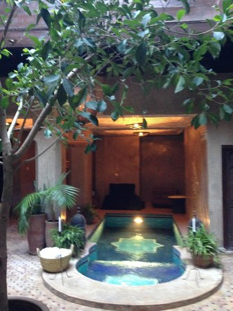 Riad Khol : part of the main courtyard with small splash pool