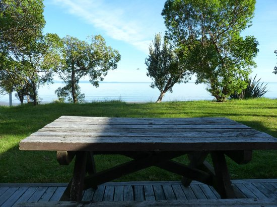 Pohara Beach Top 10 Holiday Park : View from the picnic table looking out on Golden Bay.