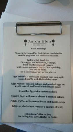 Aaron Glen: Breakfast menu