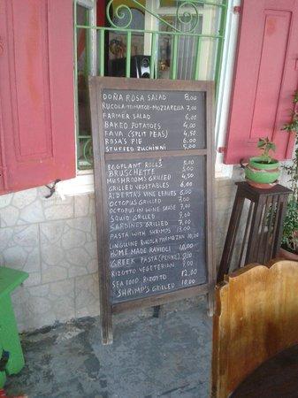 Taverna Donna Rosa : menu kaart
