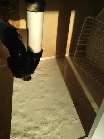 Ocean Village Beach Resort: Wasserablauf in der Küche. Belag innen ist schon ganz aufgequollen da Rohr nicht mehr ganz dicht