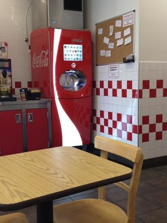 Five Guys: fun beverage dispenser.