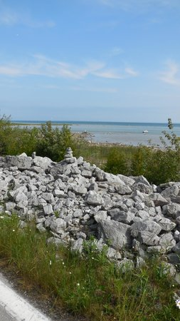 Mackinac Island Bike Shop: Rock stacks long the way