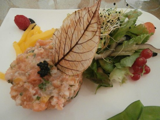 Les Embruns : Tartare saumon crevettes mangue