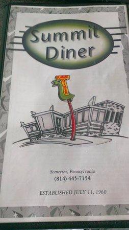 Summit Diner: Menu