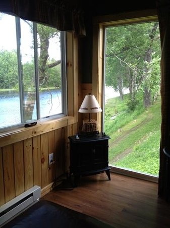 Loon Ridge: small fireplace with great views of the water