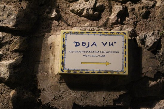 Deja Vu: Plaque on the path points the way to deliciousness