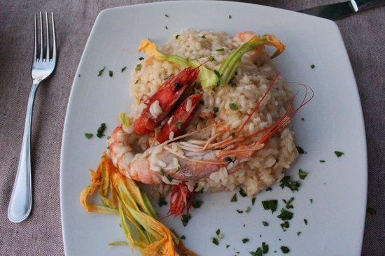 Deja Vu: Risotto with champagne, shrimp, and prawns