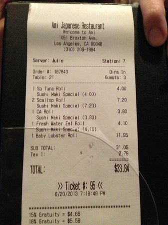 AMI Japanese Restaurant: Our bill (half off sushi)