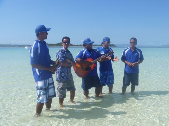 PJ's Sailing Adventures: Serenading our guests during their Vow Renewal at the Sandbank before going snorkelling