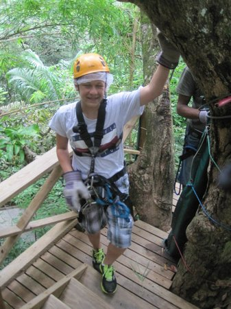 Treetop Adventure Park: Working our way through the lines