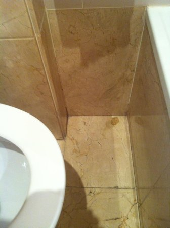 Barcelona Century Hotel: Bathroom floors filthy, with strange a stain