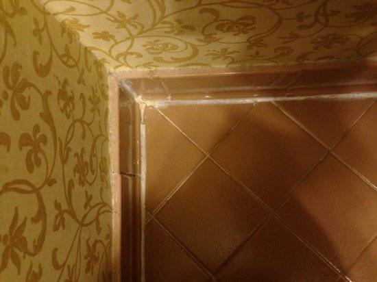 Foley House Inn: Poorly applied grout in bathroom adding to air of shabbiness and lack of cleanliness