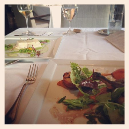 L'Espalier: Our lunch items. . . Halibut and Duck.