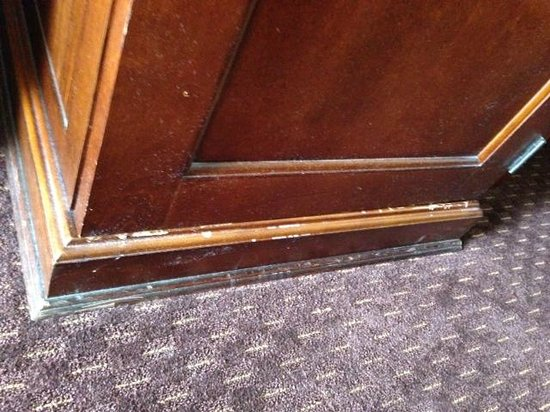 Holiday Inn San Antonio International Airport : filty carpet and filthy baseboard on tv stand